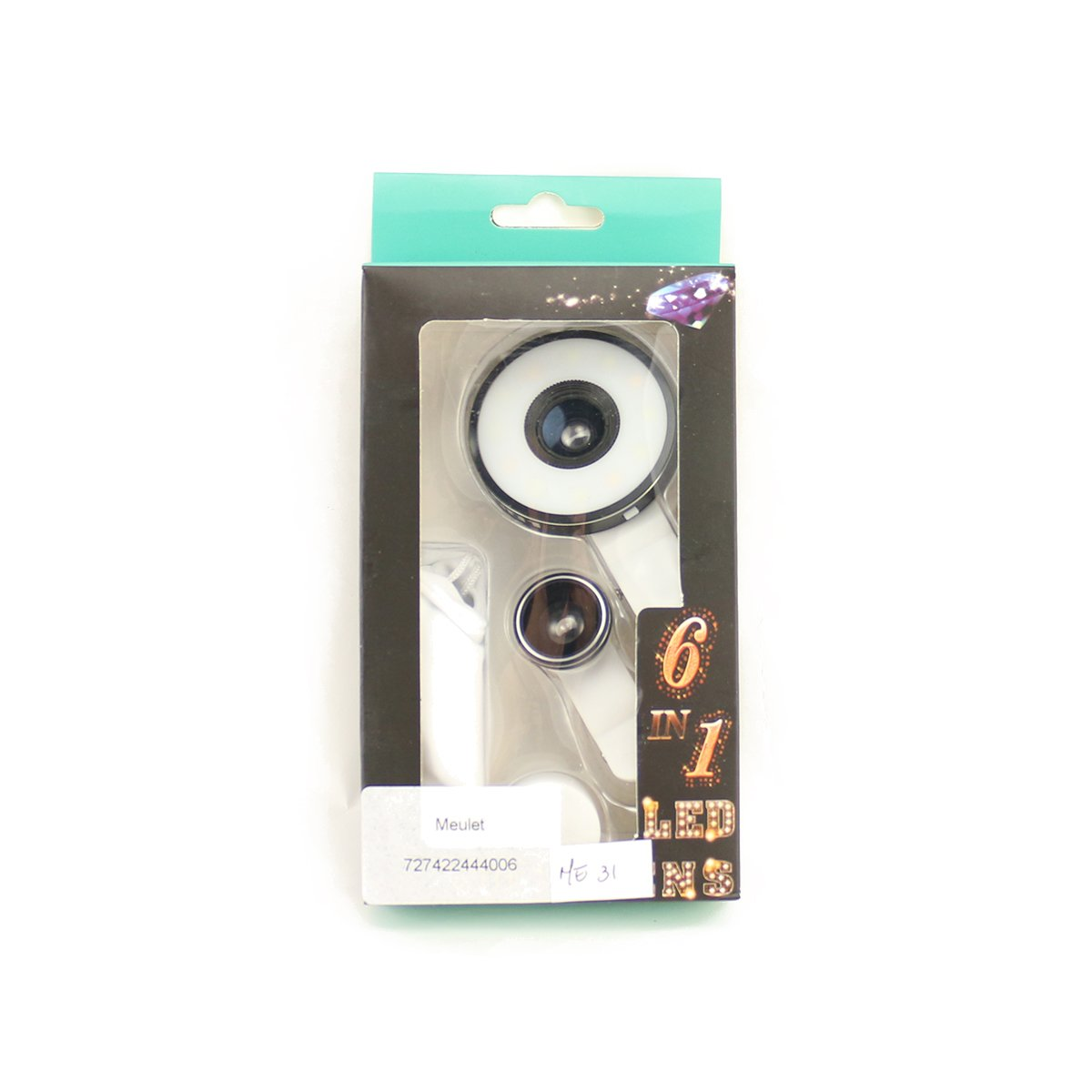 hot sale 2017 6 in 1 Multi LED Lens 185° Fish Eye Lens + 0.65X Wide Angle + 10X Macro Universal Clip Black Color Meulet