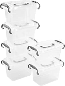 Lesbin Plastic Storage Latch Box, Clear Containers with Lids, 1.5 Quart, Set of 6