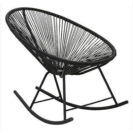 MyEasyShopping Black Vinyl Indoor/Outdoor Rocking Chair Indoor Outdoor  Rocking Chair Wood
