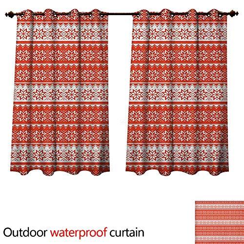 Anshesix Nordic 0utdoor Curtains for Patio Waterproof Norwegian Swedish Traditional Motifs Stitch Needlework Pattern Vintage Image W63 x L63(160cm x 160cm)