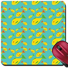 Liili Suqare Mousepad 8x8 Inch Mouse Pads/Mat IMAGE ID: 4966106 Vector illustration of mid century modern 1950 s style abstract yellow fish pattern Retro abstrac