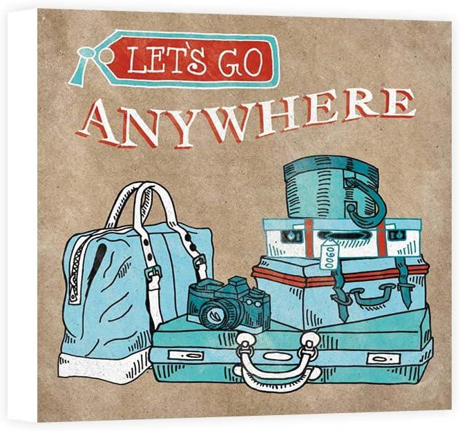Impresión sobre Lienzo Wall Art Urban Mary Adventure Love Suitcase Taupe: Amazon.es: Hogar