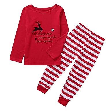 Conjunto De Pijama Camiseta Niños Niña Pantalones Raya Navidad ...