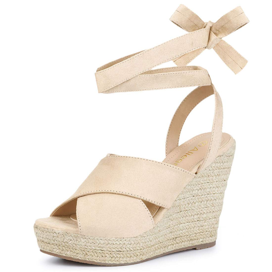 f291735ede0 Allegra K Women's Espadrille Crisscross Platform Wedges Heel Lace Up Sandals