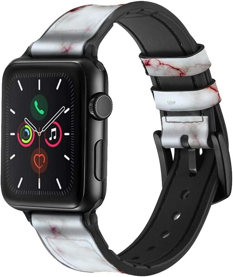 CA0507 Bloody Marble Leather & Silicone Smart Watch Band Strap for Apple Watch iWatch Size 42mm/44mm