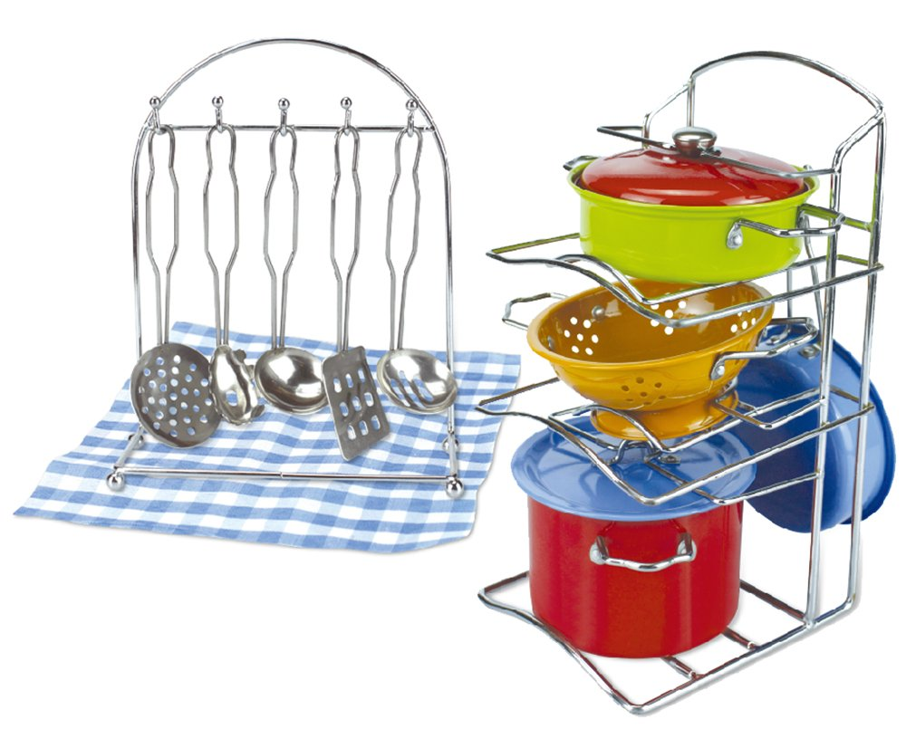 Liberty Imports Multicolored Stainless Steel Metal Pots and Pans Pretend Kitchen Cookware Playset for Kids with Play Utensils and Dish Rack (14 Pieces)