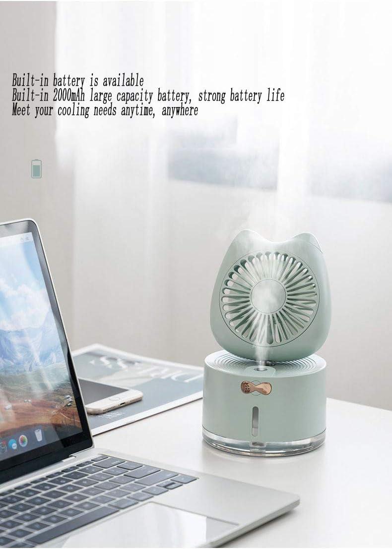 HAGUOHE Ventilatore Senza Foglie Portatile Senza Acqua Ricarica USB Confortevole Mini Ventilatore da Tavolo Idratante per umidificazione del radiatore dell\'Aria White