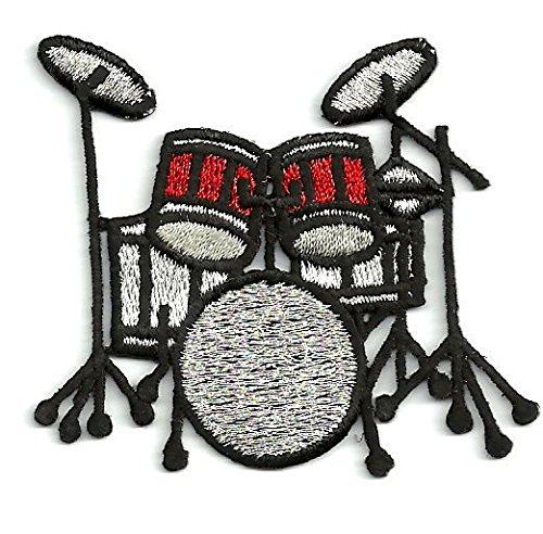 Drum Kit - Red/Black/Silver - Music Set - Iron on Applique/Embroidered ()