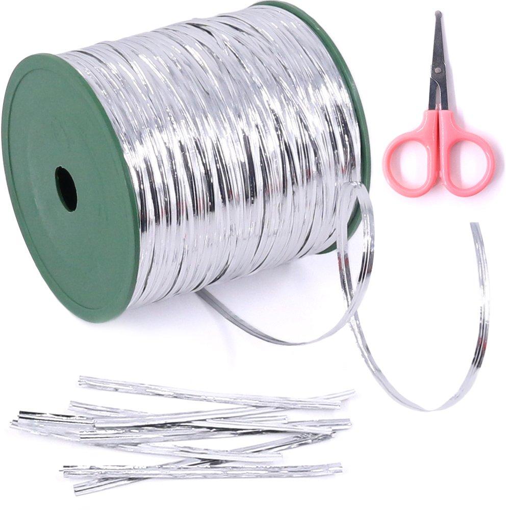 Glarks 350 Yard Silver Metallic Twist Ties for Bread Candy Bag Parties Decorative Ties (silver)