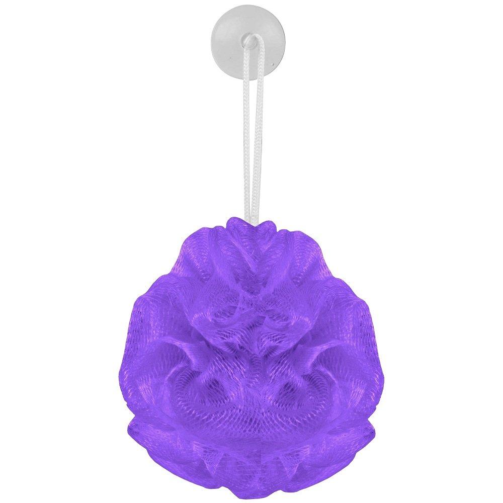 Promobo - Fleur de Bain Eponge pour Douche Fixation Ventouse City Violet Fleurviolet