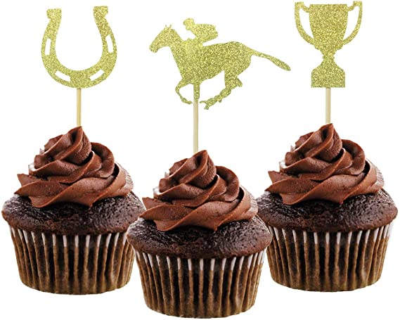 24 Ct Horse Races Gold Glitter Horses No-Mess Real Gold Glitter Dessert Cupcake Toppers Kentucky Horse Derby Party Clear Treat Picks