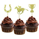 Morndew 24 PCS Kentucky Derby Equestrian Horse and Golden Cup Cupcake Toppers for Theme Party Baby Shower Birthday Party…
