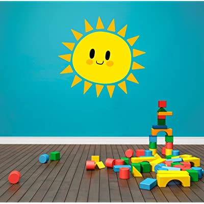 "Cute Sun Smiling Kids Theme Wall Decal Vinyl Home Decoration - 20"" Wide x 19"" high: Home & Kitchen"
