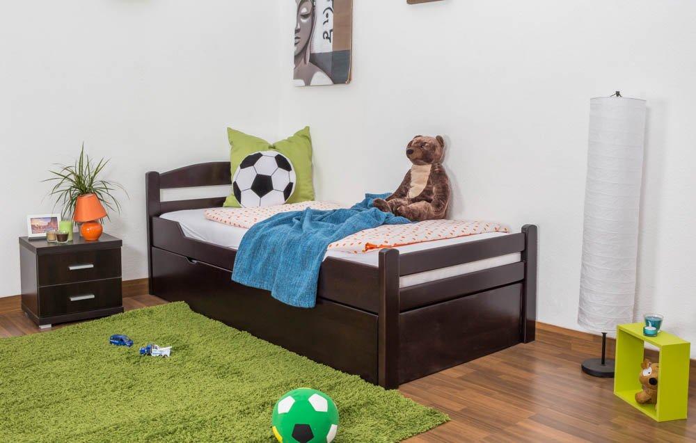 Kinderbett   Jugendbett  Easy Möbel  K1 2h inkl. 2. Liegeplatz und 2 Abdeckblenden, 90 x 200 cm Buche Vollholz massiv schokobraun lackiert
