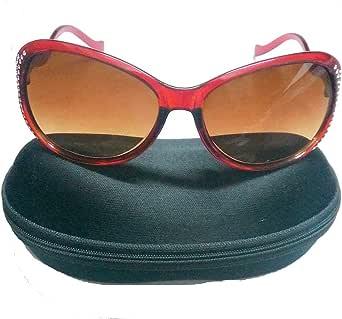 نظارة شمسية للنساء والبنات بالجراب مرصعة عصرية شبه مربعة
