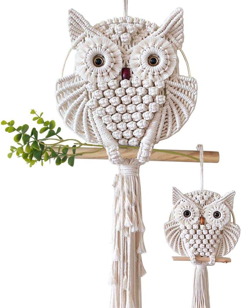 "AOMGD 2 Pcs Owl Macrame Wall Hanging Tapestry Art Decor Handmade Woven Boho Ornament Wall Hanger for Office Bedroom Apartment Living Room Nursery Gallery(Width: 11.8""& 5.9"")"