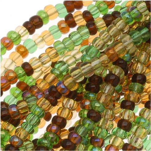 Jablonex Czech Seed Beads Mix, Size 11/0, Half Hank, Earthtone Brown Green ()