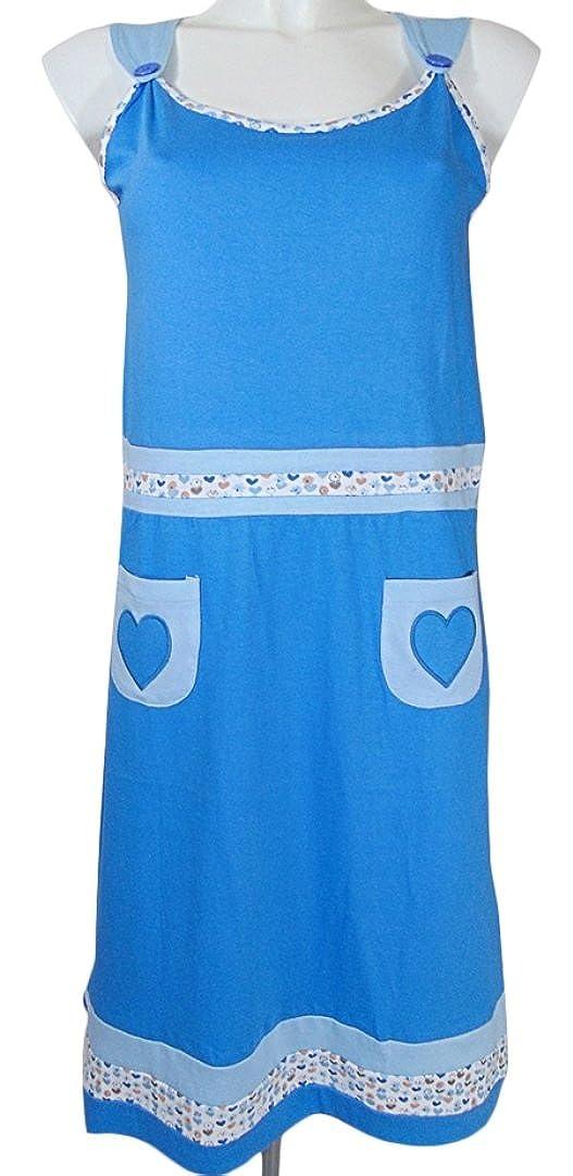 CAMICIA da notte vestito in puro cotone casa donna my pi blu
