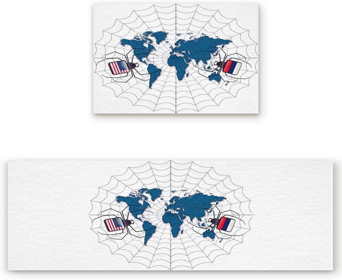 Savannan 2 Piece Non-Slip Kitchen Bathroom Entrance Mat Absorbent Durable Floor Doormat Runner Rug Set – World Map Cartoon Web