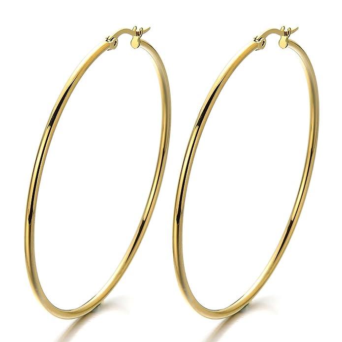 Pair Stainless Steel Large Plain Circle Huggie Hinged Hoop Earrings for Women Girls Gold Color IxYeA9VtBc