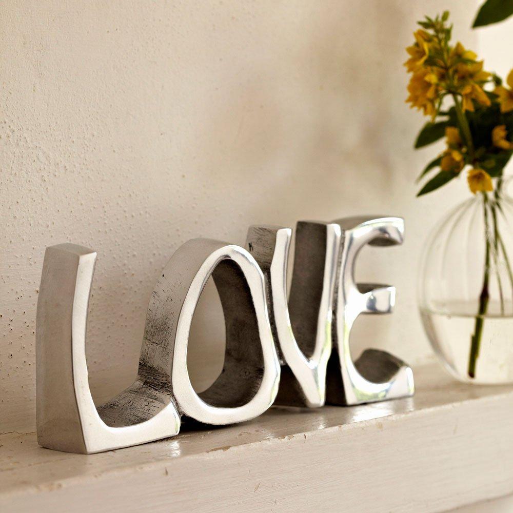 Objeto decorativo con la palabra Love (acero inoxidable, 200 x 85 mm) Paper High