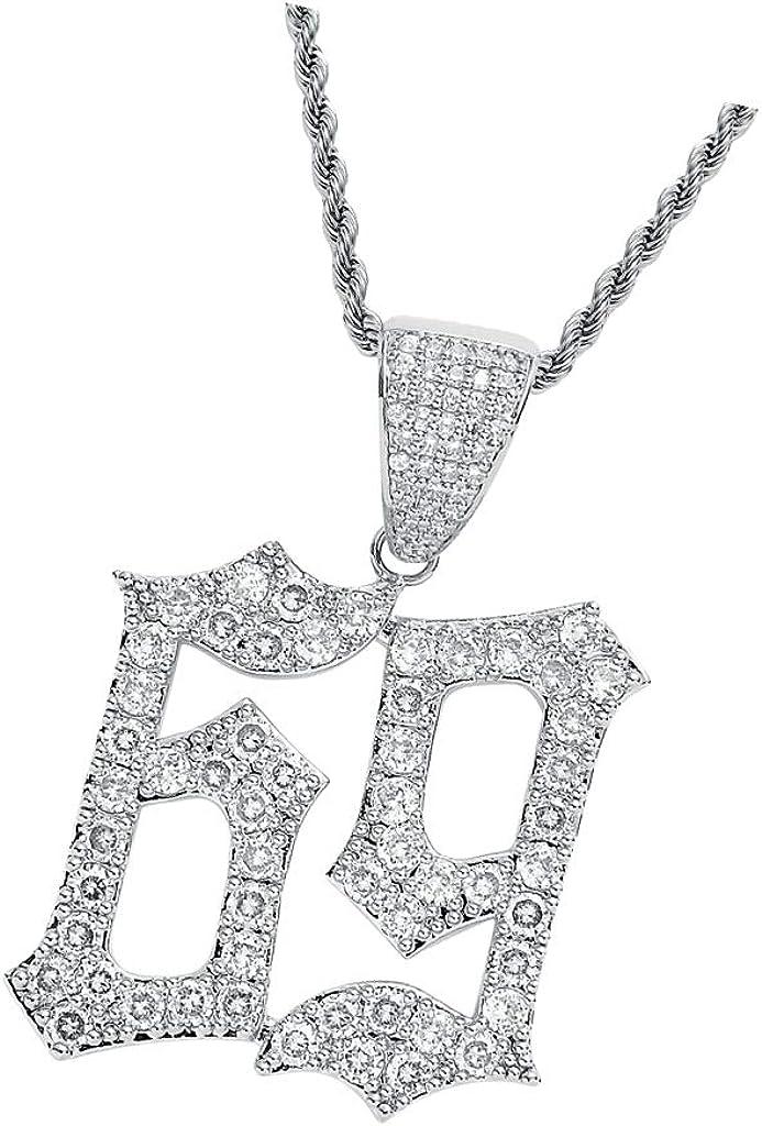 kesoto Hip-hop Accessory Zircon Creative Number 69 Pendant Necklace