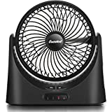 Rechargeable Portable Fan, 7 inch USB Desk Fan, Quiet Personal Battery Operated Fan, Powerful 5000mAh 18650 Battery Fan with LED Light, 3 Speeds, 17 Hours, for Camping, Traveling, Home, Office