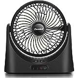 Gazeled 7 inch Portable Fan Battery Operated,18650 Battery Fan, USB Desk Fan, 2500mAhx2 Rechargeable Fan LED Light Power Bank Function, 5-17 Working Hours, 3 Speeds, Quiet Office Home, Black