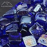 Blue Ridge Brand™ Dark Blue Reflective Fire Glass Cubes - 50-Pound Professional Grade Fire Pit Glass - 3/4'' Reflective Fire Glass Bulk Pack - Glass Rock Contractor Pack