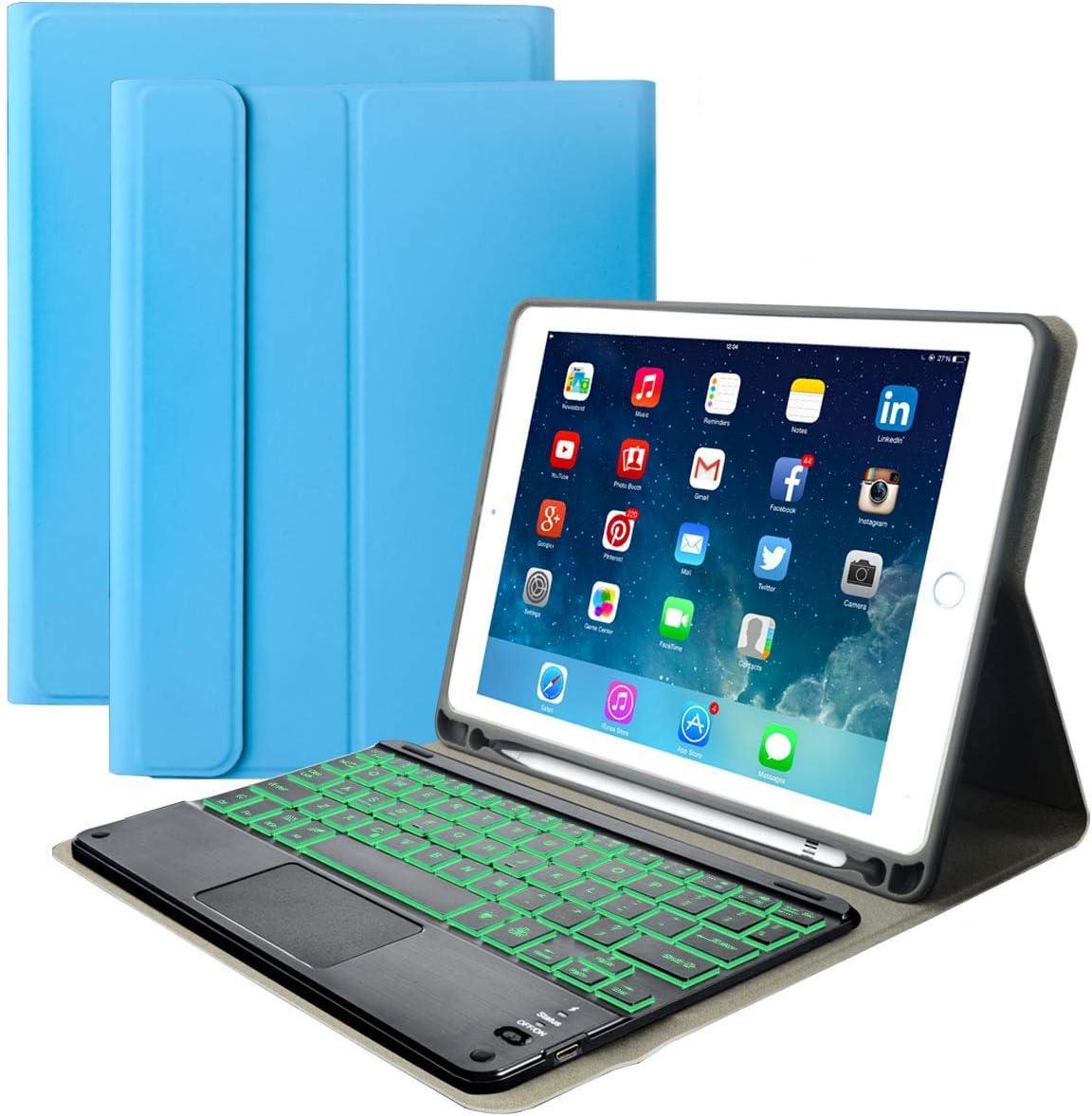 "iPad Keyboard Case for iPad 2018 (6th Gen) - iPad 2017 (5th Gen) - iPad Pro 9.7 - iPad Air 2 -Eoso iPad Cover with Keyboard Built-in Touchpad & Pencil Holder (9.7"", Blue with Backlit Keyboard)"
