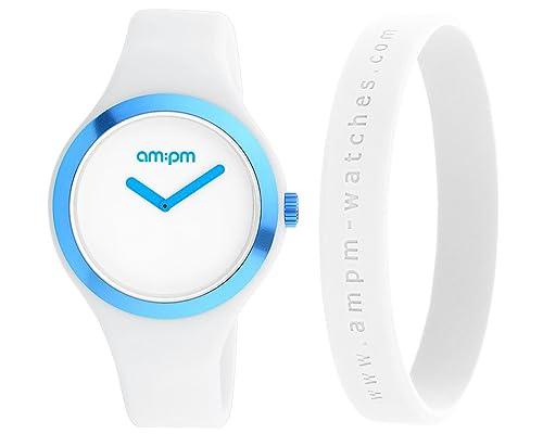Reloj AM: PM Club Hombre Mujer Solo Tiempo goma silicona blanco 42 mm pm158-u370-k1: Amazon.es: Joyería