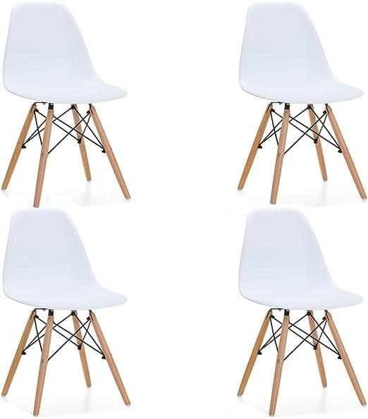 HOGAR24.es- Pack 4 sillas Silla Tower Wood Color Blanco: Amazon.es: Hogar