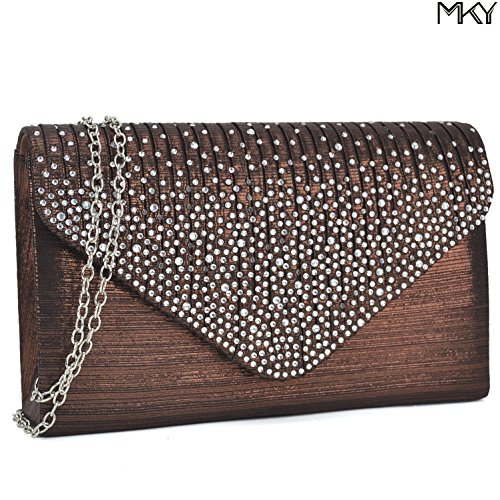 Womens Envelope Flap Clutch Handbag Evening Bag Purse Glitter Sequin Party Coffee by MKY