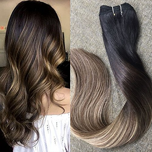 Full Shine 14 inch 100% Remy Human Hair Straight Balayage Hair Weft Dip Dyed Color #1B Fading to #6 and #27 Honey Blonde 100gram Per Package