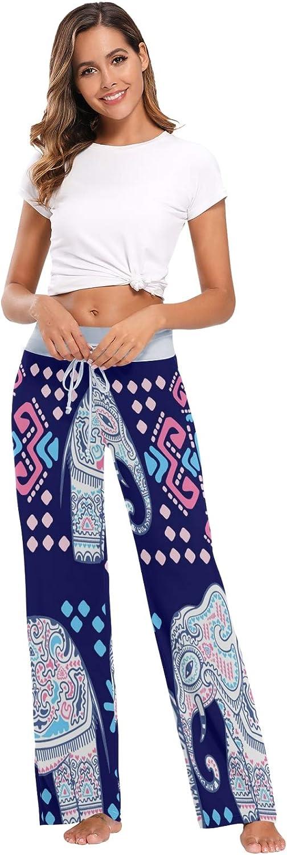 Pantalon de Pyjama pour Femme Pantalon de Sommeil Long Pantalon Large athl/étique /Él/éphant Animal Ethnique Africain