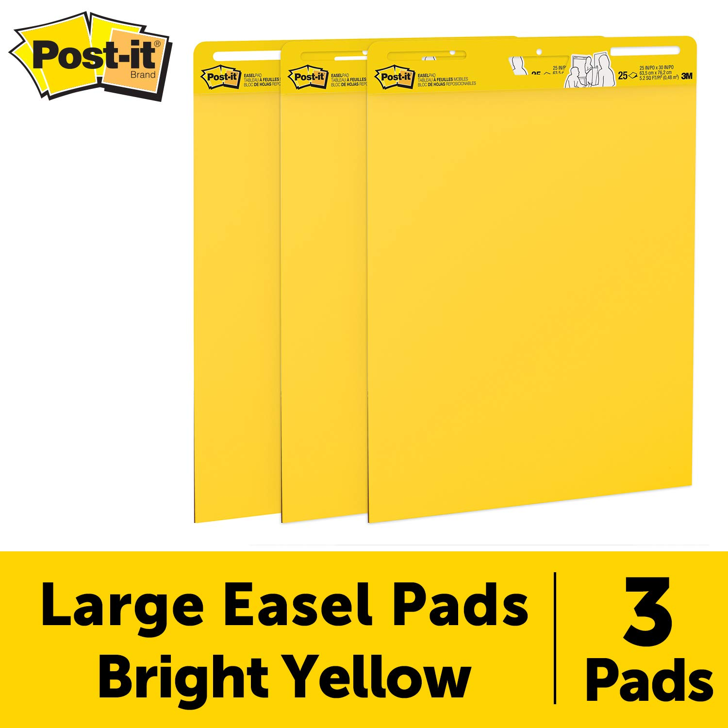 Post-it Super Sticky Easel Pad, 25 x 30 Inches, 25 Sheets/Pad, 3 Pads (559YW-3PK), Large Bright Yellow Premium Self Stick Flip Chart Paper, Super Sticking Power by Post-it