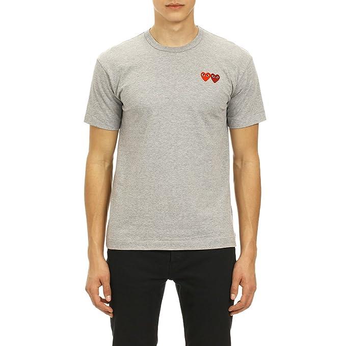 5e8d2fab726a1 Comme des Garcons Play Men s Double Heart Patch T-Shirt P1T226 Grey ...