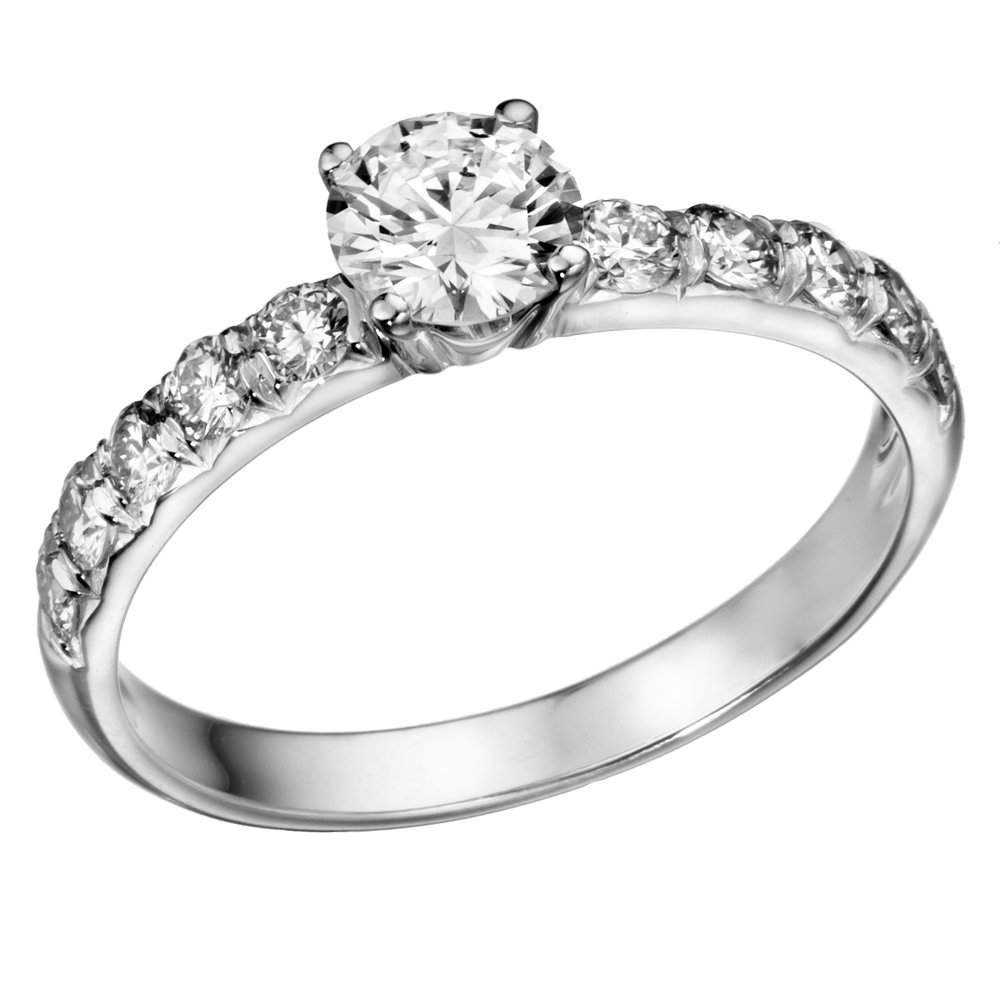 14K White Gold Round Brilliant Cut Diamond Engagement Ring (1 1/10 cttw, J-K Color, I1-I2 Clarity) - Size 7