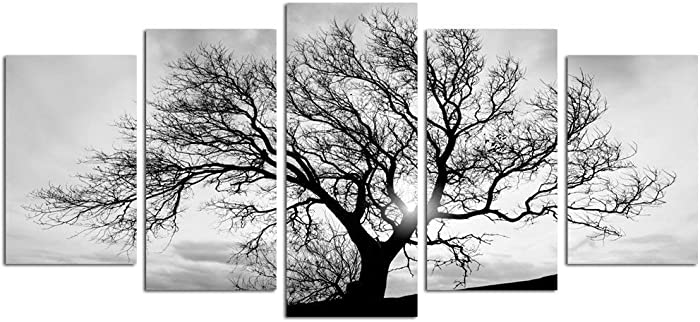 LevvArts - Black and White Tree Canvas Art,Great Sunset Shot Pictures Print on Canvas,Modern Home Decor