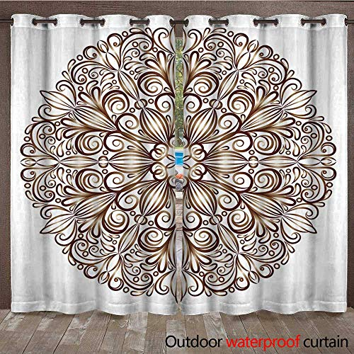 atio Outdoor Curtain Mandala Pattern in The Stained Glass Style W96 x L108 ()