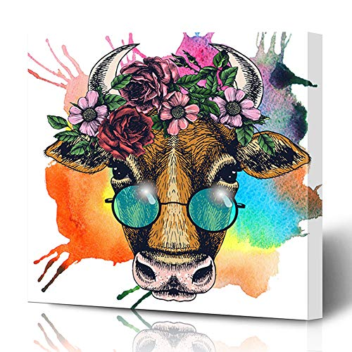 Ahawoso Canvas Prints Wall Art 12x12 Inches Floral Watercolor Face Cow Wreath Hornbill Round Sunglasses Blue Hippie Bohemian Boho Eco Decor for Living Room Office Bedroom