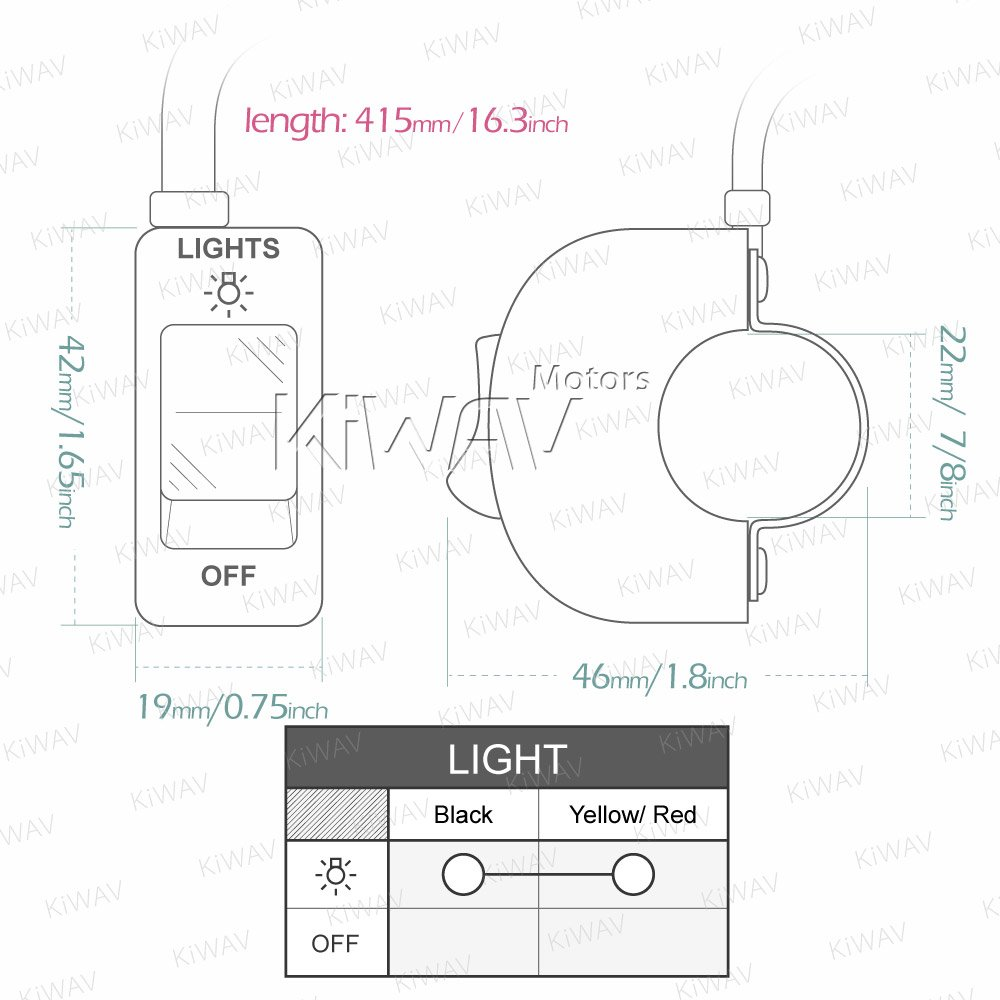 Kiwav Motorcycle Black Fog Light Switch 1 Inch 25mm Wiring A Diagram Variation Electrical Online Handlebar 12v Dc System Home Improvement