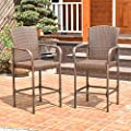 Costway Rattan Wicker Bar Stool Outdoor Backyard Chair Patio Furniture With Armrest – Set of Two