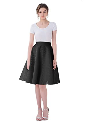 Malishow Women's Retro Flared Midi Skirt Swing High Waist Skater A-line Pleated Gowns Black L