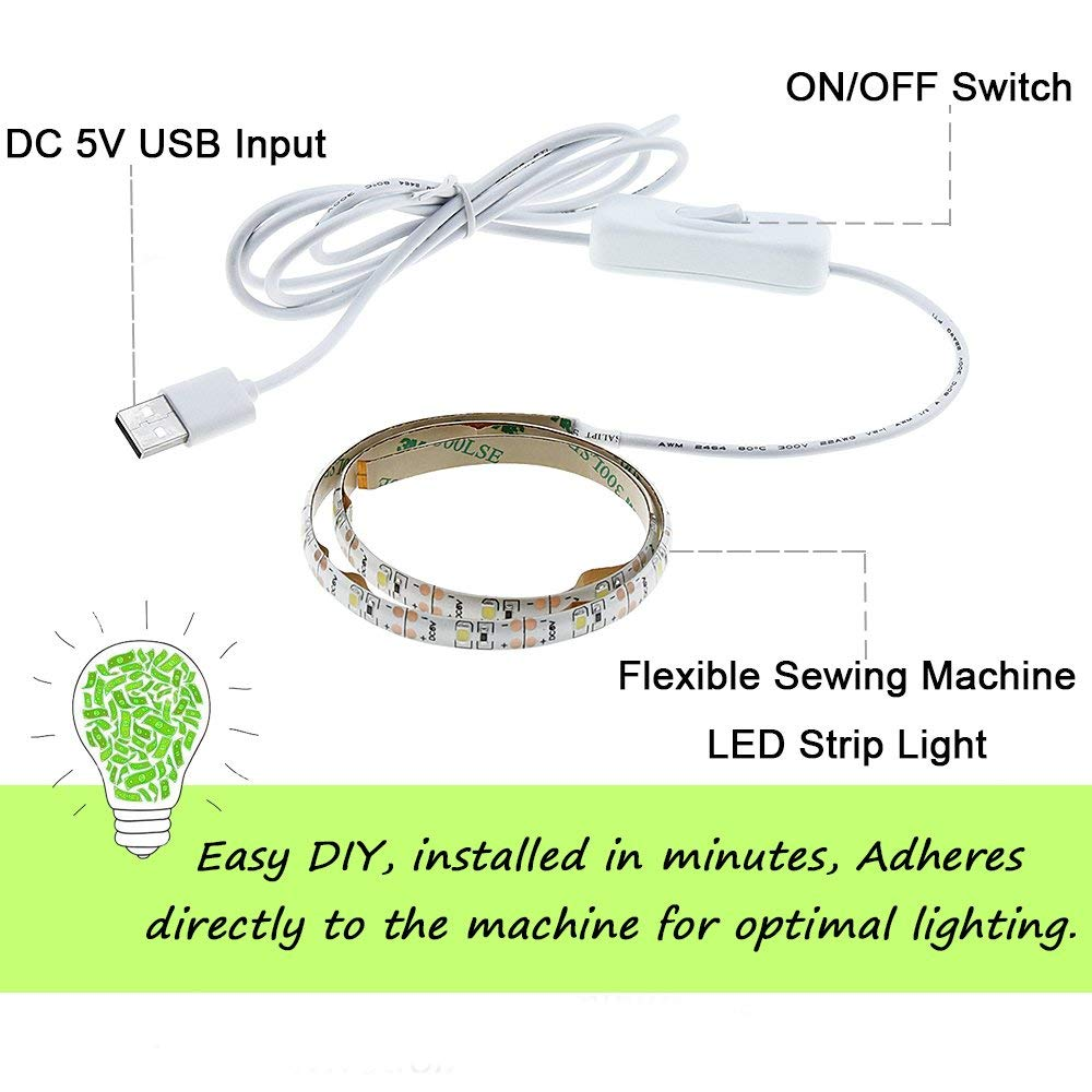 Bonlux Sewing Machine LED Light Kit 5V USB Flexible Machine Working LED Strip Light with On//Off Switch Fits All Sewing Machines