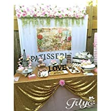 Promotion!TRLYC 60 x 102-Inch Square Sequin Tablecloth Gold for Wedding Black Friday