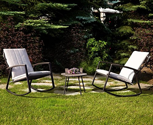 LCH Set of 3 Outdoor Patio Rocking Bistro Set Furniture - Two Durable Metal Chairs with Retro Wood Coffee Table, Creamy White Cushion