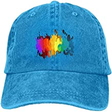 Arsmt Rainbow Star Paint Denim Hat Adjustable Female Curved Baseball Hat