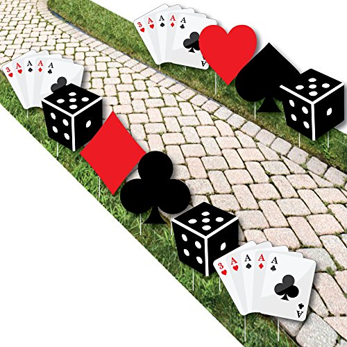 Las Vegas - Card Suits and Dice Lawn Decorations - Outdoor Casino Themed Yard Decorations - 10 Piece