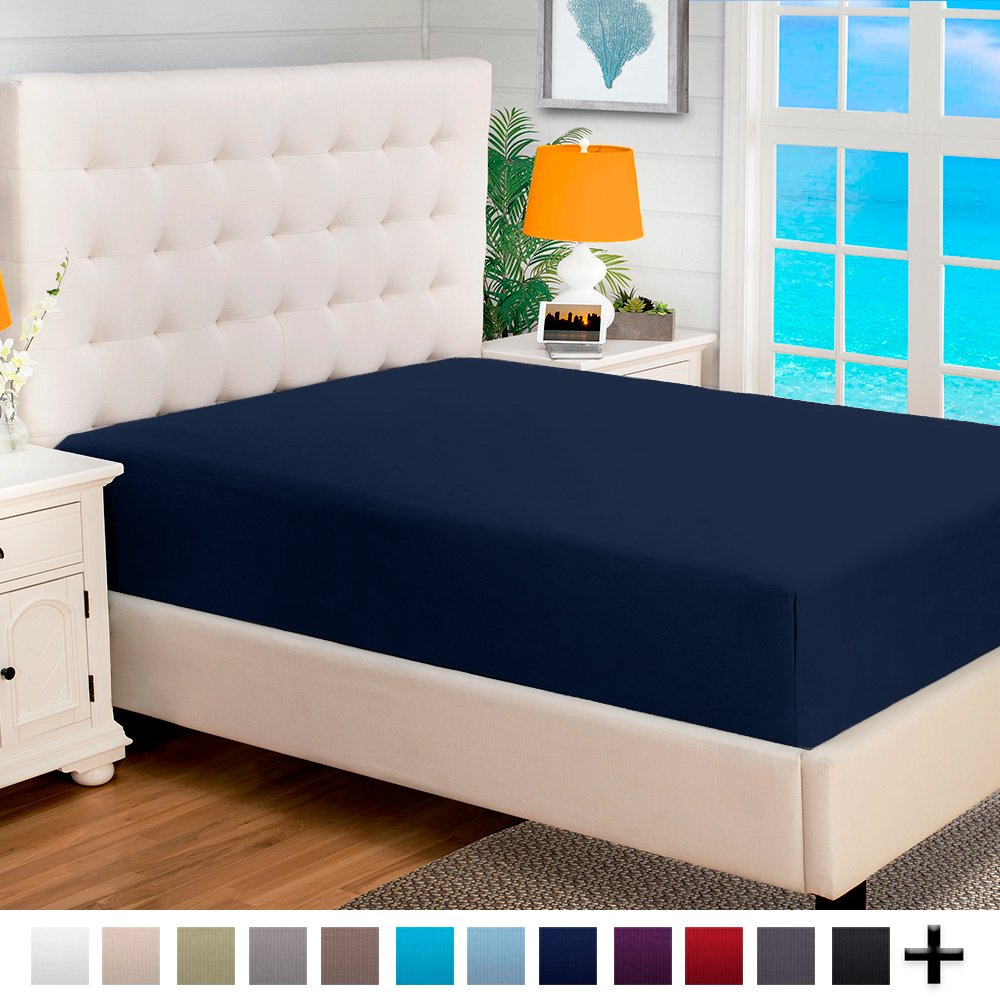 10 Twin XL Fitted Bottom Sheets 100% Cotton Velvet Flannel - Extra Soft Heavyweight - Great For Adjustable Split King Beds - Deep Pocket (Split King, Dark Blue)
